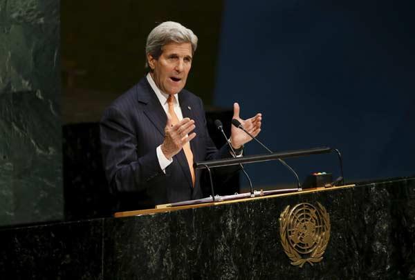 امریکی وزیر خارجہ اقوام متحدہ  کے اجلاس سے خطاب کرتے ہوئے