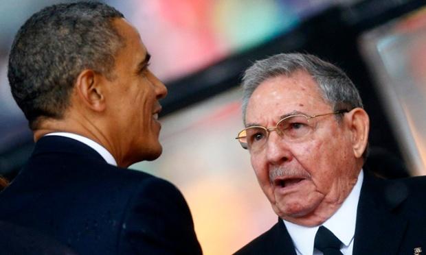 امریکا کے صدر باراک اوباما اور کیوبا کے صدر راول کاستوری