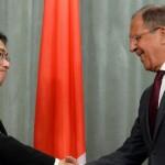 جاپان کے وزیرِ خارجہ فومیو کشیدا اور روسی وزیر خارجہ سرگئی لاورف