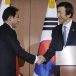جاپانی وزیر خارجہ نے وزیر اعظم فومیو کشیدا  اور جنوبی کوریا کے وزیر خارجہ یون بیونگ سے مشترکہ کانفرنس کرتے ہوئے