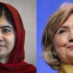 سابق امریکی وزیر خارجہ ہیلری کلنٹن اور نوبل انعام یافتہ پاکستانی طالبہ ملالہ یوسفزئی