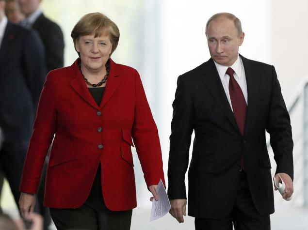 جرمن چانسلر انجیلا مرکل اور روس کے صدر پیوٹن
