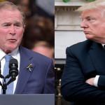امریکا کے سابق صدر جارج ڈبلیو بش اور موجودہ صدر ڈونلڈ ٹرمپ