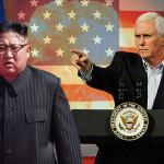 امریکی نائب صدر مائیک پینس اور شمالی کوریا کے سربراہ کم جانگ ان