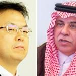 سعودی وزیر تجارت و سرمایہ کاری ڈاکٹر ماجد القصبی اور جاپانی وزیر صنعت و تجارت ھیروشیجی سیکو