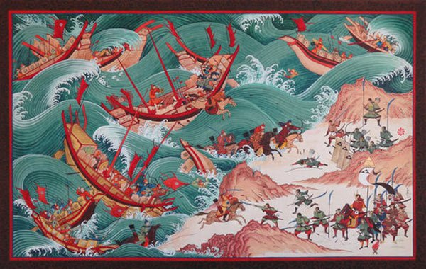 نومبر 1274ء میں چین کے منگول بادشاہ قبلائی خان  کی طاقتور بحری فوج نے سمندر کے راستے جاپان پر حملہ کر دیا