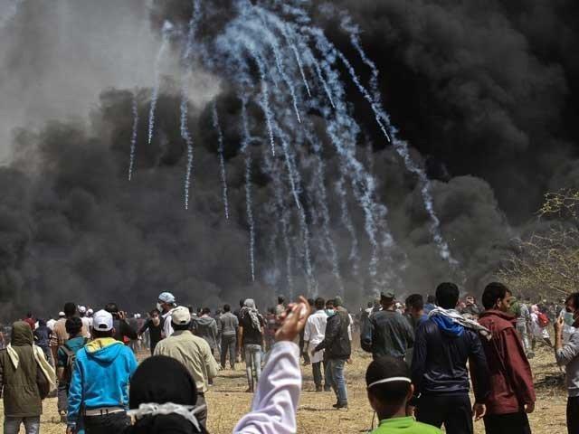 صیہونی فورسز نے فائرنگ اور آنسو گیس کی شدید شیلنگ کی جس سے500 سے زائد فلسطینی زخمی ہو گئے