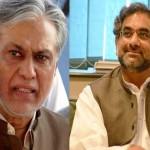 سابق وزیر اعظم شاہد خاقان عباسی اور سابق وزیر خزانہ اسحاق ڈار