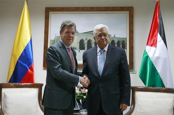 کولمبیا کی نئی حکومت کے وزیر خارجہ کارلوس ہولمس اور فلسطینی صدر محمود عباس
