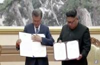 جنوبی کوریا کے صدر مون جے ان کی شمالی کوریا کے سربراہ کم جانگ ان سے ملاقات، معاہدوں پر دستخط
