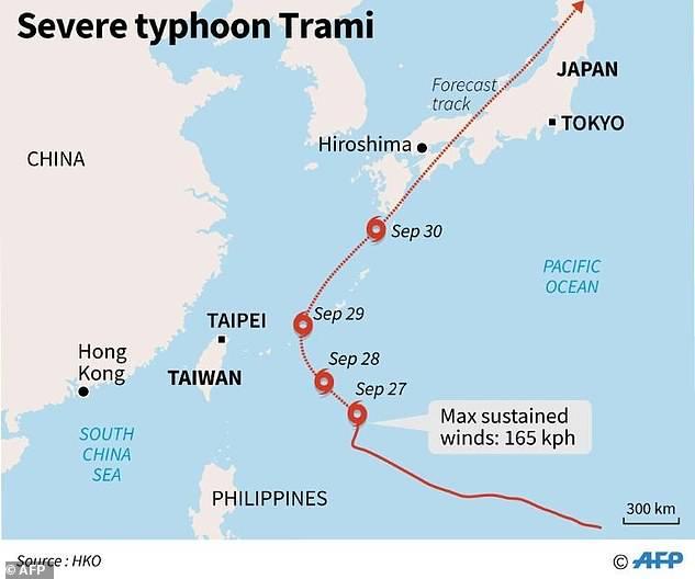 سمندری طوفان ٹرامی 13 کلو میٹر فی گھنٹہ کی رفتار سے تائیوان سے ہوتے ہوئے جاپان کے جزائر میاکوجیما کا رخ کرے گا