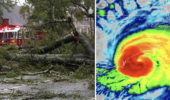 طوفان کے ساتھ چلنے والی ہوائوں کی رفتار 165 کلومیٹر فی گھنٹہ ہے