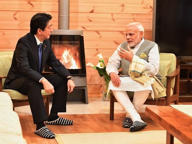 وزیر اعظم نریندر مودی اور وزیر اعظم جاپان شینزو آبے