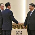 امریکی تجارتی نمائندے رابرٹ لائٹ ہائزر ،  وزیر خزانہ اسٹیون منوچن اور چینی صدر شی جن پنگ