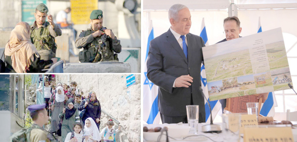 اسرائیلی وزیر اعظم بنیامین نیتن یاہو مغربی کنارے میں نئی یہودی بستی کا نقشہ دکھا رہے ہیں قابض فوج نے ناکابندی کر رکھی ہے