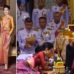 تھائی لینڈ کے بادشاہ، ان کی اہلیہ  اور اپنی رائل نوبل کنسورٹ سنینات وونگوا جیراپاکڈی کی فائل فوٹو