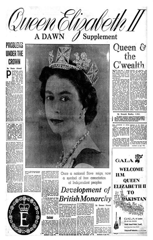 ملکہ برطانیہ کی آمد سے متعلق ڈان اخبار کا خصوصی ضمیمہ