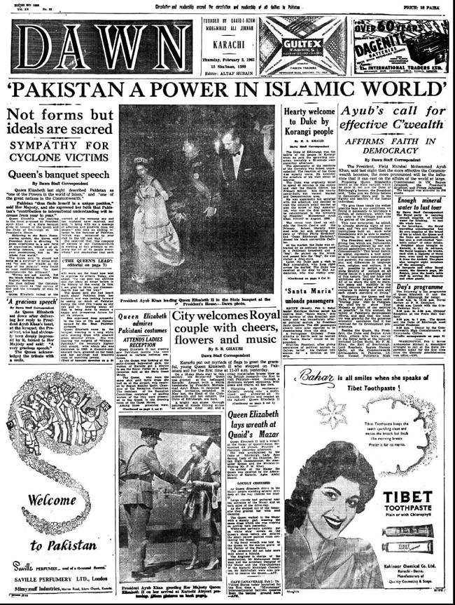 2 فروری 1961ء کو شائع ہونے والے ڈان اخبار کا فرنٹ پیج