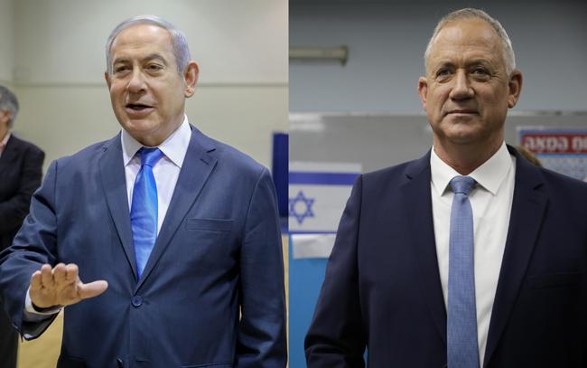 اسرائیلی وزیر اعظم بنیامین نیتن یاہو اور ان کے سیاسی حریف بینی گانتز