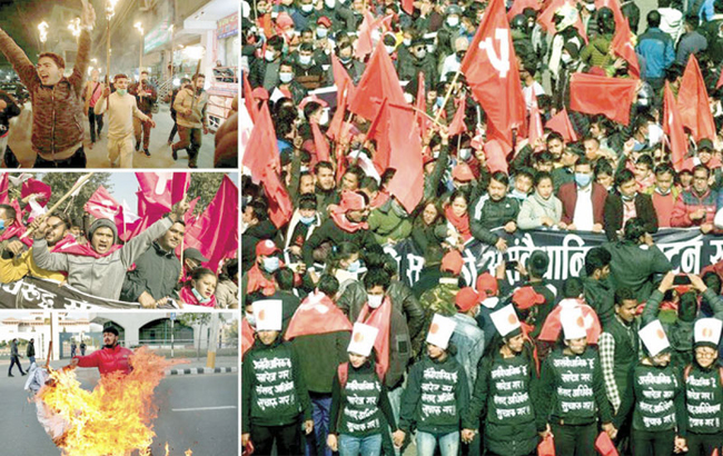 نیپال میں پارلیمان تحلیل کیے جانے کے بعد شہری دارالحکومت میں احتجاجی مظاہرہ کررہے ہیں